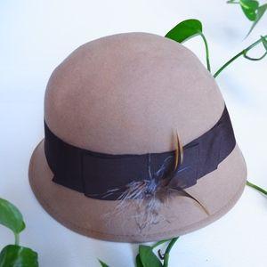 Accessories - Beige Wool Cloche Hat w/ Grosgrain & Feathers